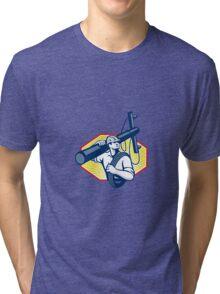 Power Lineman Repairman Carry Electric Pole Tri-blend T-Shirt