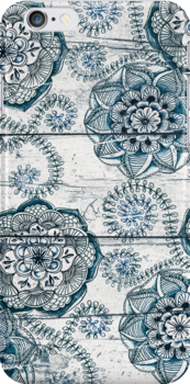 Shabby Chic Navy Blue doodles on Wood by micklyn