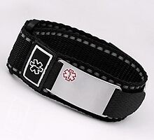 Black Medical Velcro Sport Strap with Engravable Stainless ID Tag Adjustable 4 1/2 - 8 Inches by stickyj