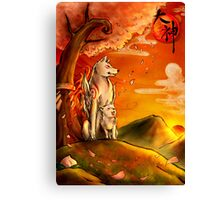 Okami wolf and pup Canvas Print