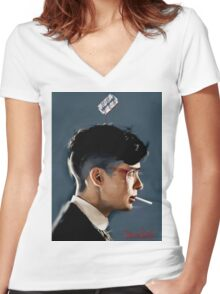 Peaky Blinders - clean background Women's Fitted V-Neck T-Shirt