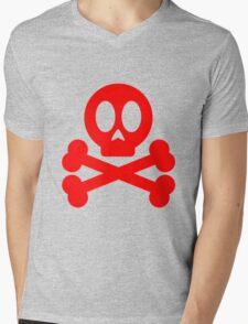 Poison Skull and Cross Bones ( Red ) Mens V-Neck T-Shirt