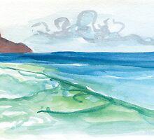 Hanalei Bay Postcard by Meagan Healy