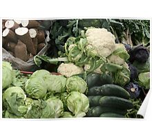 Yucca Cucumbers Lettuce and Cauliflower Poster