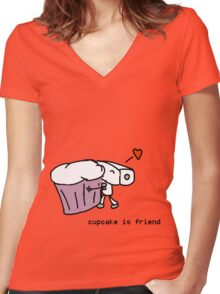 cupcake is friend Women's Fitted V-Neck T-Shirt