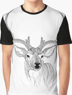 Black & White Deer Illustration Graphic T-Shirt