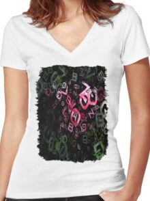 Pink Roses in Anzures 6 Letters 3 Women's Fitted V-Neck T-Shirt