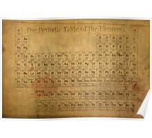 Periodic Table of the Elements Vintage Chart on Worn Stained Distressed Canvas Poster