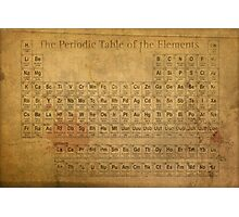 Periodic Table of the Elements Vintage Chart on Worn Stained Distressed Canvas Photographic Print