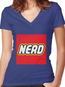 Playful Nerd  Women's Fitted V-Neck T-Shirt