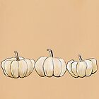 Art poster - White pumpkins by Marikohandemade