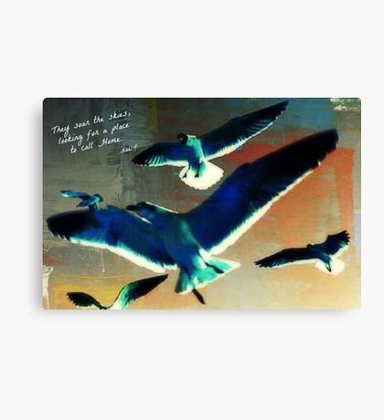 Birds in Flight with Poem Canvas Print
