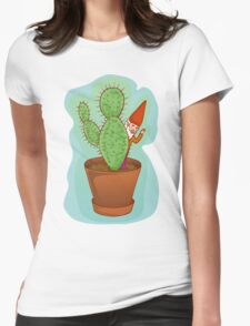 fairytale dwarf with cactus Womens Fitted T-Shirt