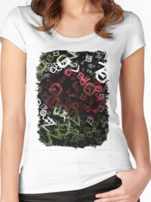 Red Rose with Light 1 Letters 3 Women's Fitted Scoop T-Shirt