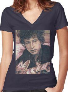 BOB DYLAN PORTRAIT IN INK Women's Fitted V-Neck T-Shirt