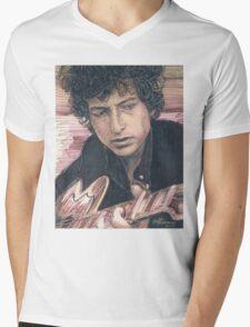 BOB DYLAN PORTRAIT IN INK Mens V-Neck T-Shirt