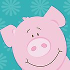 Happy Pig iPhone Case - Aqua by JessDesigns