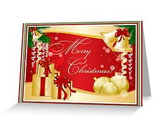 Merry Christmas Greeting With Gifts Bows And Ornaments Greeting Card