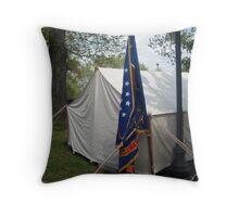 Civil War Officers Tent, Rhode Island Regiment Flag Throw Pillow