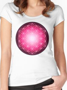 Starburst Pink Flower of Life Women's Fitted Scoop T-Shirt