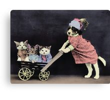 Mother Dog with Kittens in Cart Canvas Print