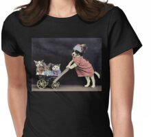 Mother Dog with Kittens in Cart Womens Fitted T-Shirt
