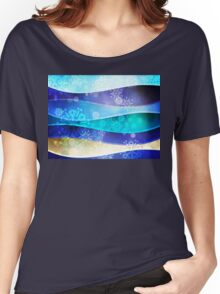 Blue Background with Snowflakes 6 Women's Relaxed Fit T-Shirt
