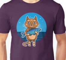Cat with Fish Unisex T-Shirt