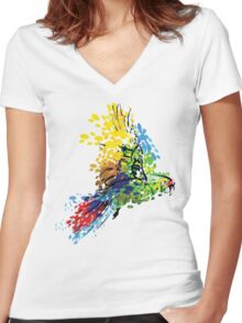 Colorful Bird Women's Fitted V-Neck T-Shirt