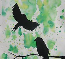 watercolor birds green, blue themed zen  by cathyjacobs