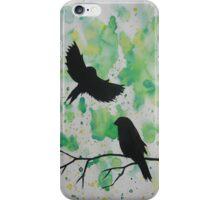 watercolor birds green, blue themed zen  iPhone Case/Skin