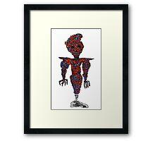 orange flying robot art print desing comic funny monster Framed Print