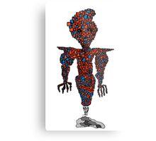 orange flying robot art print desing comic funny monster Metal Print