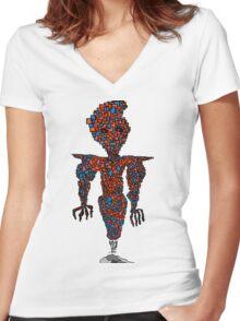 orange flying robot art print desing comic funny monster Women's Fitted V-Neck T-Shirt