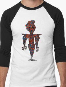 orange flying robot art print desing comic funny monster Men's Baseball ¾ T-Shirt