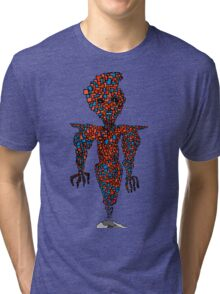 orange flying robot art print desing comic funny monster Tri-blend T-Shirt