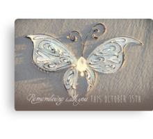 October 15th Butterfly - White Canvas Print