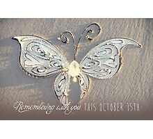 October 15th Butterfly - White Photographic Print