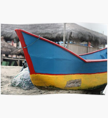 Red Blue and Yellow Fishing Boat Poster