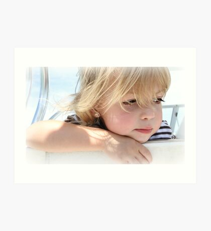 A 2 year old deep in thought Art Print