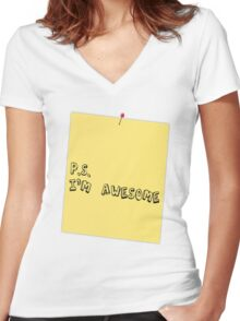 P.S. I'm awesome post-it-note Women's Fitted V-Neck T-Shirt