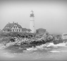 Portland Head Lighthouse in Black and White by Daniel Carroll