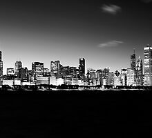 B&W Chicago Skyline by Steve Ivanov