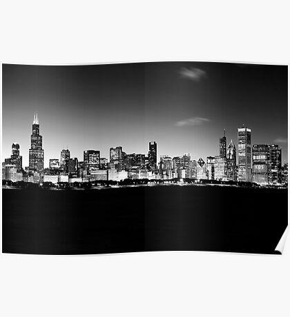 B&W Chicago Skyline Poster