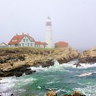 Portland Head Lighthouse on Foggy Day by Daniel Carroll
