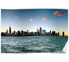 Chicago Skyline Sunset Poster