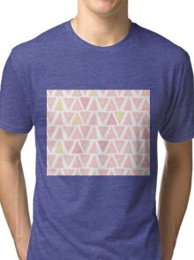 Hipster backgrounds seamless hand drawn triangle pattern in pink Tri-blend T-Shirt