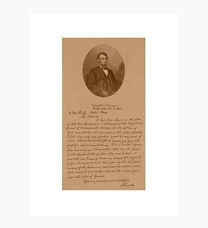 President Lincoln Letter To Mrs. Bixby  Photographic Print