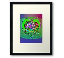 Glam green heart  Framed Print
