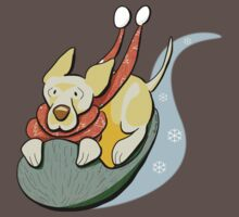 Yellow Lab Modern Howl-i-day Sled Ride Baby Tee